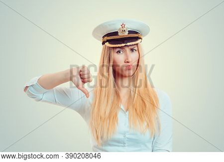 Upset Woman In Captain Marine Sailor Hat Showing Thumb Down Hand Gesture Caucasian Business Person I