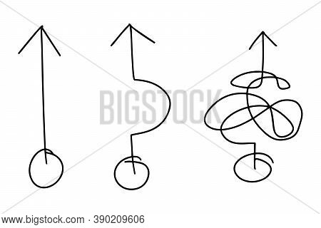 Black Color Doodle Handdrawing In Black Arrow In Simple And Complex Line Shape On White Background