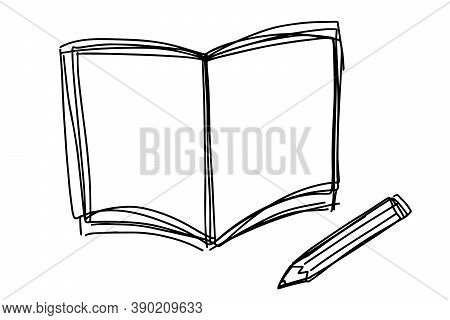 Black Color Doodle Line Handdrawing In Book And Pencil Shape On White Background