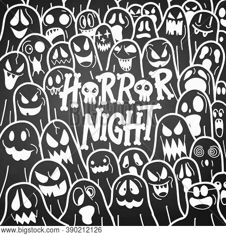 Cute Hand Drawn Halloween Doodles ,halloween Cute Ghost Icon In Various Style, Pattern Wallpaper Bac
