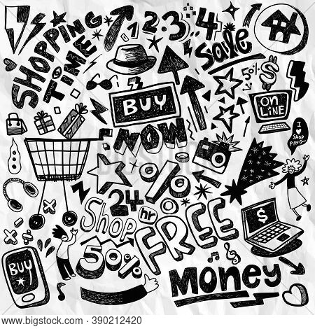 Illustration, Cute Hand Drawn  Doodles ,hand Drawn Set Of Shopping Doodles With Lettering