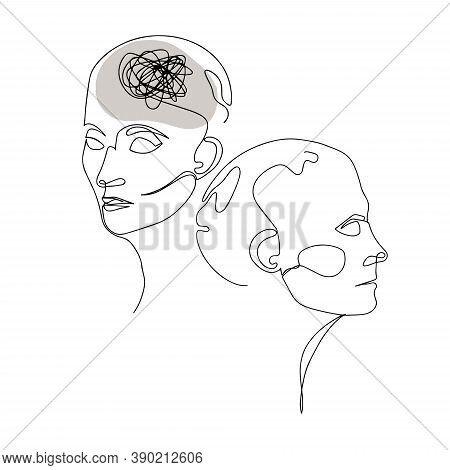 Line Drawing Of Two Human Heads With Confused Thoughts In One Brain. Vector Illustration For Therapi