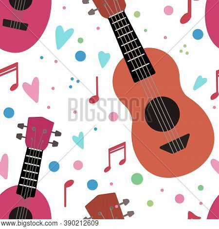 Seamless Pattern With Flat Ukuleles With Musical Notes And Hearts On White Background. Love Music. M