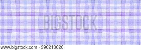 White Flannel Checks. Watercolour Square Border. Modern Gingham Ornament. Seamless Flannel Checks. B