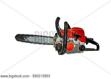 Old Dirty Shabby Chainsaw Isolated On White Background - Side View. Working Gasoline Tool For Sawing