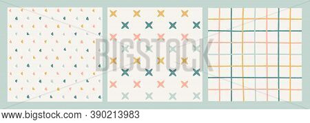 Three Pastel Seamless Vector Patterns. Hand-drawn Triangles, Stars, Cross-stitches, Squared, Crossed