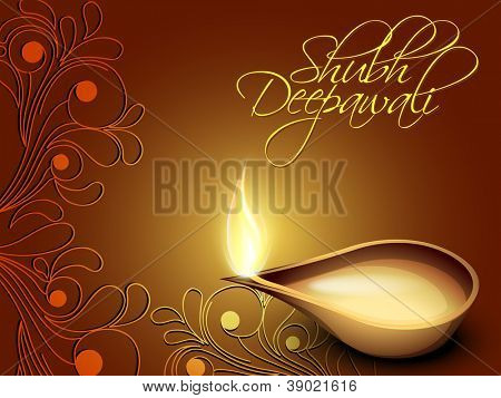 Illuminated oil lamp on beautiful floral decorative background for Diwali festival celebration in India. EPS 10. poster