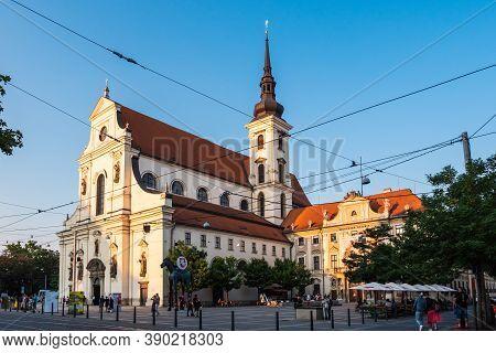 Brno, Czech Republic - September 12 2020: Saint Thomas Church Or Kostel Svateho Tomase On Moravian S