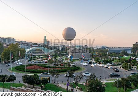 Tbilisi, Georgia - 14 October, 2020: Air Excursion Balloon For Passengers Over Old City Tbilisi, Tra