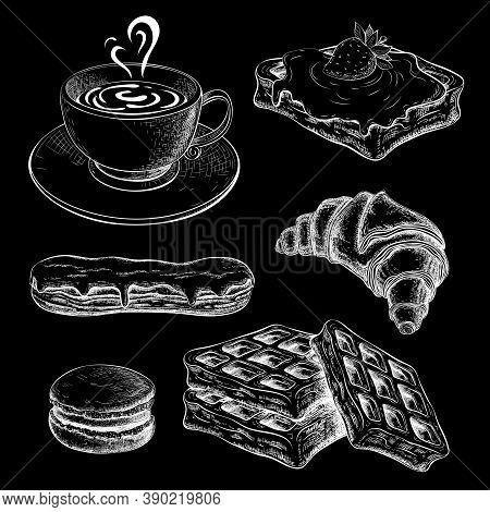Coffee With Croissant Chalk Sketch On Black Chalkboard. Pastries, Sweet Desserts On Blackboard. Brea