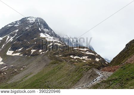 Mountain Snow Panorama And Material Ropeway In Tyrol Alps, Austria