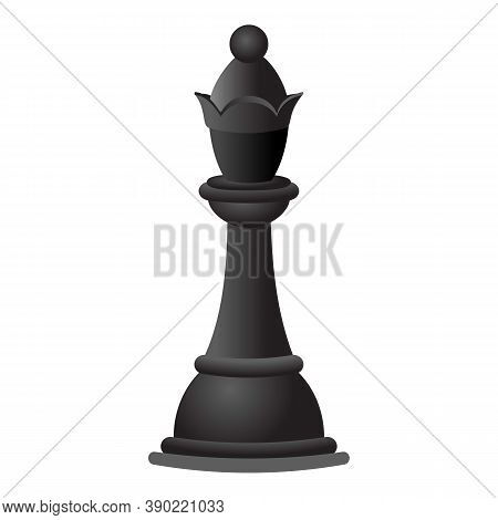 Black Chess Queen Icon. Cartoon Of Black Chess Queen Vector Icon For Web Design Isolated On White Ba