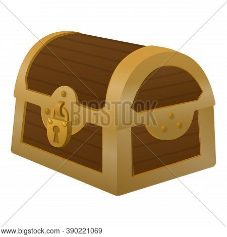 Locked Dower Chest Icon. Cartoon Of Locked Dower Chest Vector Icon For Web Design Isolated On White