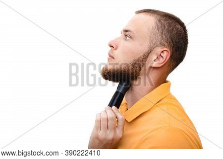 Man Showing How To Use A Laryngophone After Vocal Cord Removal Or Laryngeal Injury. Electronic Throa