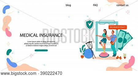 Medical Insurance For Rehab In Case Of Accident, Flat Vector Illustration.