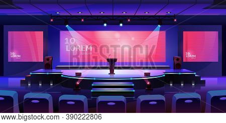 Stage For Event Or Conference With Tribune, Convention Hall For Presentation Or Concert, Background.