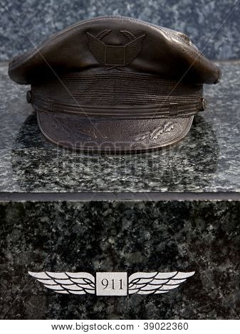W. ORANGE, NJ-SEPT 11: A bronze sculpture of a pilots hat in the 911 memorial inside Eagle Rock Reservation honors victims of the 2001 terror attacks on September 11, 2012 in West Orange, NJ.