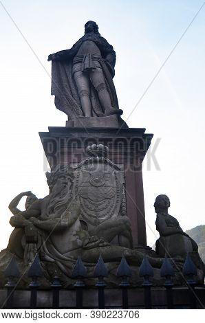 Statue Of Of Prince Karl Theodor And The Accompanying Deities On Karl Theodor Old Bridge Of Heidelbe