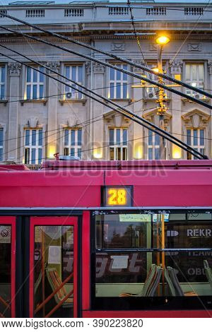 Belgrade / Serbia - September 22, 2020: Trolleybus 28 Of The Public Transport Company