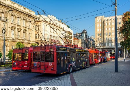 Belgrade / Serbia - August 14, 2020: Trolleybuses Of The Public Transport Company