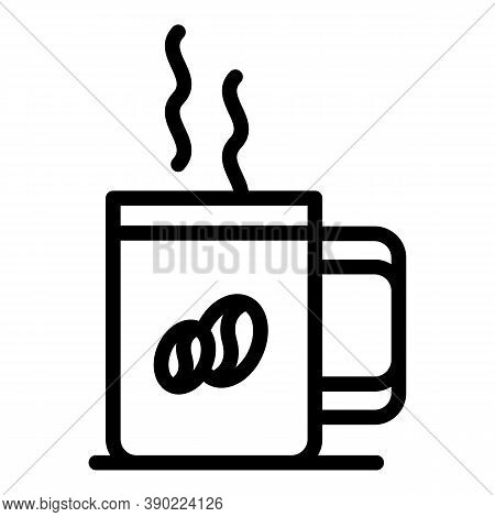 Hot Coffee Mug Icon. Outline Hot Coffee Mug Vector Icon For Web Design Isolated On White Background