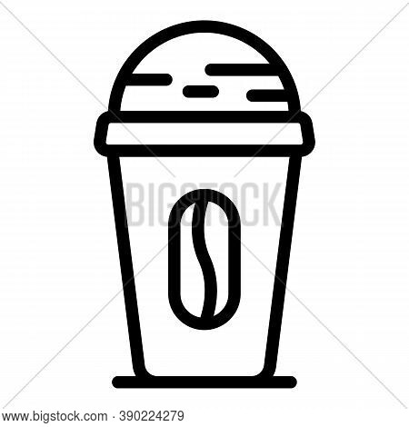 Coffee Bean Cup Icon. Outline Coffee Bean Cup Vector Icon For Web Design Isolated On White Backgroun