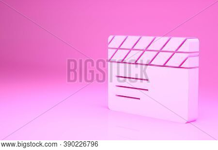 Pink Movie Clapper Icon Isolated On Pink Background. Film Clapper Board. Clapperboard Sign. Cinema P