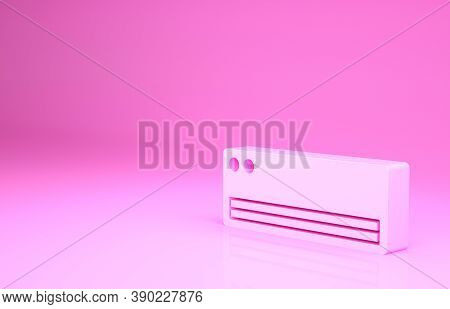 Pink Air Conditioner Icon Isolated On Pink Background. Split System Air Conditioning. Cool And Cold