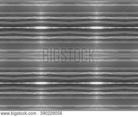 Silver Stripes Texture. Seamless Abstract Aluminum Banner. Vintage Metal Design. Silver Stripe Textu