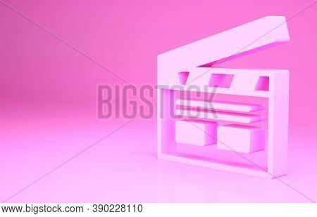 Pink Bollywood Indian Cinema Icon Isolated On Pink Background. Movie Clapper. Film Clapper Board. Ci