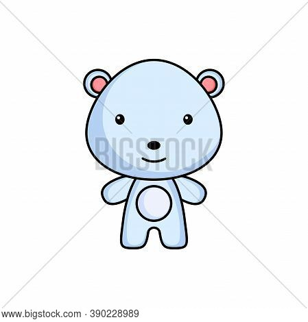 Cute Cartoon Polar Bear Logo Template On White Background. Mascot Animal Character Design Of Album,