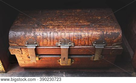 Antique Rust Iron Metal Lock Box Used To Store Valuables In Travel.