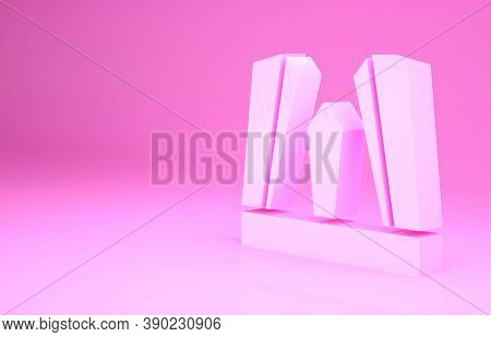 Pink Gate Of Europe Icon Isolated On Pink Background. The Puerta De Europa Towers. Madrid City, Spai