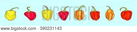 Set Of Habanero Chili Peppers Cartoon Icon Design Template With Various Models. Vector Illustration