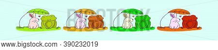 Set Of Frog And Rabbit Animals Design Template With Various Models. Vector Illustration Isolated On