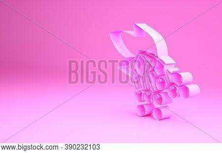 Pink Branch Viburnum Or Guelder Rose Icon Isolated On Pink Background. Healthful Viburnum Fruit Bunc