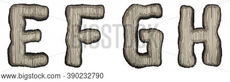 Set of industrial metal alphabet letters E, F, G, H on white background. 3d rendering