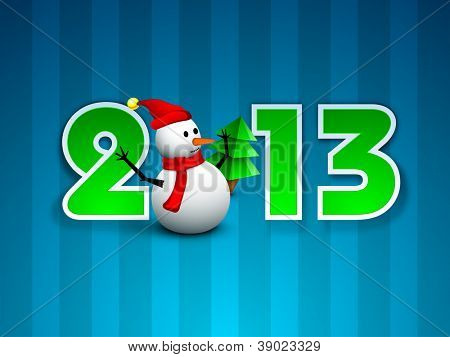 Happy New Year greeting card with snowman in Santa cap and scarf. EPS 10. poster