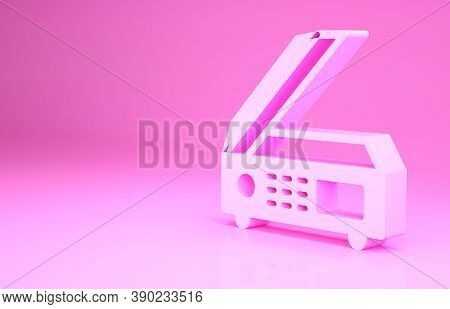 Pink Scanner Icon Isolated On Pink Background. Scan Document, Paper Copy, Print Office Scanner. Mini