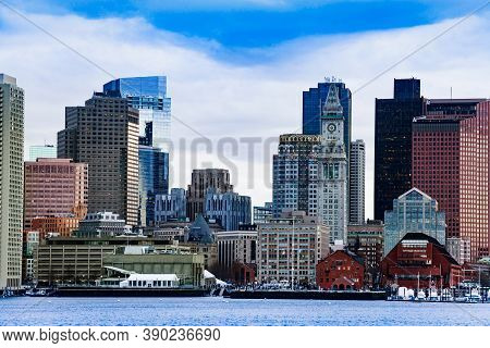 Boston City Downtown View With Clocktower From East Side Of The Inner Harbor Massachusetts, Usa