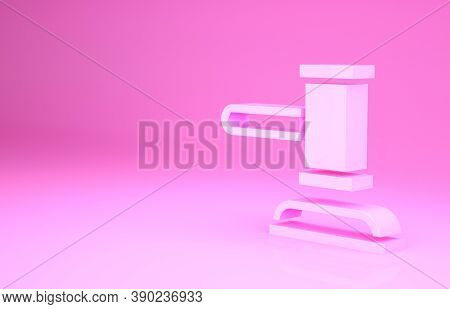 Pink Judge Gavel Icon Isolated On Pink Background. Gavel For Adjudication Of Sentences And Bills, Co