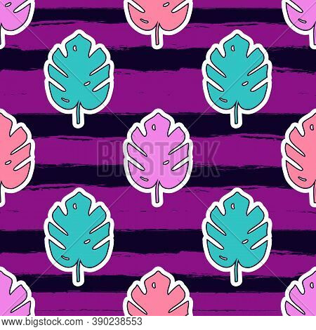 Vector Seamless Pattern With Monstera Palm Leaves On Striped Background. Trendy Summer Tropical Desi