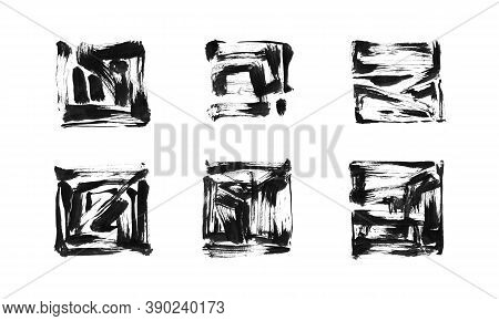 Black Ink Painted Grunge Dirty Square Frame Collection. Isolated Quadrate Shape Illustration, Textur