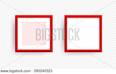 Red Realistic Picture Frame On The Wall. Mockup Realistic Square Picture Or Photo Frame Isolated On