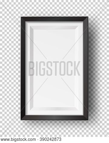 Vector Realistic Square Empty Picture Frame. Mockup Template With Black Frame Boarder Isolated On Tr