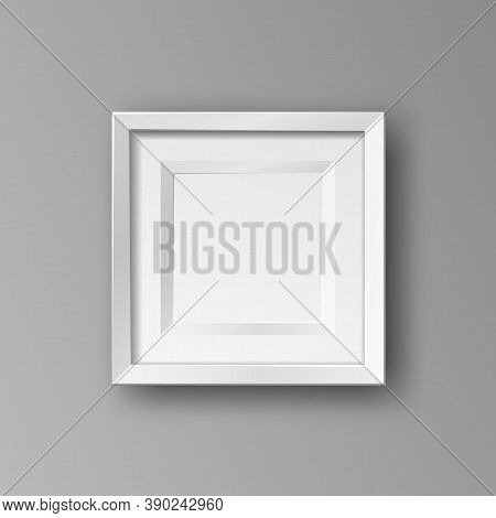 Vector Realistic Square Empty Picture Frame. Mockup Template With White Frame Boarder Isolated On Ne