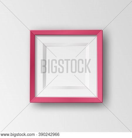 Vector Realistic Square Empty Picture Frame. Mockup Template With Red Frame Boarder Isolated On Tran