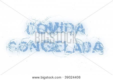 A frozen word/phrase from a serie isolated on a white background. 'Comida congelada' is in Portuguese-Br language and it means 'Frozen food'.