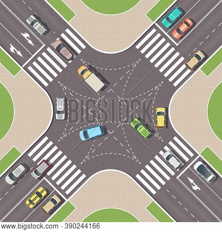 Urban Crossroad With Cars And Pedestrian Paths. City Intersection With Pedestrian Zebra Lines. Top V