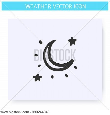 Clear Night Sky Icon. Hand Drawn Sketch. Clear Weather. Starry Sky With Moon. Moonlight. Cloudless N